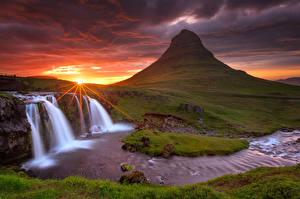 Фотография Исландия Водопады Пейзаж Реки Киркьюфетль гора Вулкан Природа
