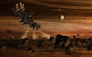 Картинки Корабли Астероид spacecraft light space unknown sci fi Фантастика Космос 3D_Графика