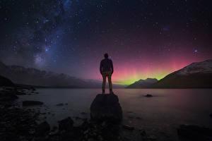 Обои Млечный Путь Новая Зеландия Горы Звезды Ночью Природа Космос