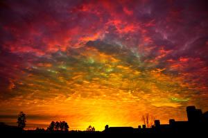 Обои Рассвет и закат Силуэт Облачно Природа