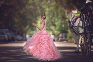 Картинки Платье Девочки Улиц Розовая The Carriage Julia Altork ребёнок