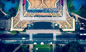 Фото Франция Дороги Эйфелева башня Париже Улиц Сверху город
