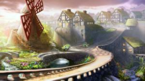 Фото Картина Дороги Мосты Здания Рисованные Ветряная мельница Фэнтези