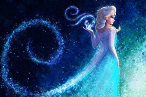 Обои Холодное сердце Магия Платье Queen Elsa Frozen Фэнтези Девушки