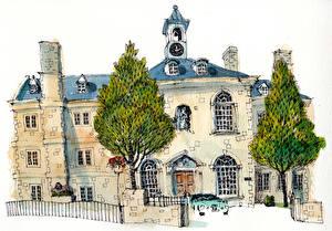 Обои Дома Рисованные Живопись Улица Дерево Города