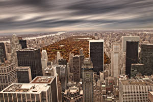 Обои США Небоскребы Дома Нью-Йорк Мегаполис город