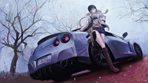 Картинка Ниссан Сзади Fan ART terabyte rook777 GT-R Авто Автомобили Девушки