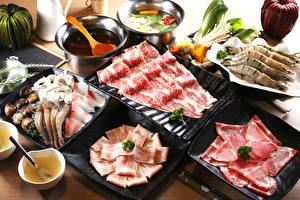 Фотографии Мясные продукты Морепродукты Еда