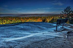 Картинка Гора Пейзаж Небо Скамья Природа