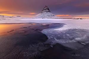 Обои Исландия Зима Гора Киркьюфетль гора Вулканы Природа