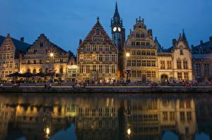 Фотографии Бельгия Дома Речка Гент Ночь Flemish Region город