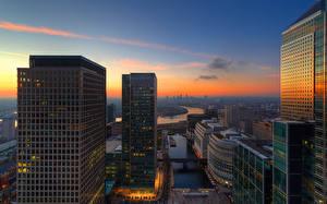 Фотография Англия Реки Дома Небоскребы Рассветы и закаты Небо Лондон Города