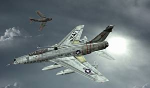 Фотографии Самолеты Истребители Рисованные Cold War Encounter Авиация