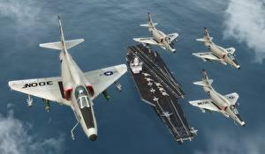 Фотографии Самолеты Истребители Авианосец Skyhawk Авиация 3D_Графика