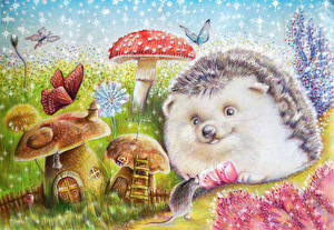 Фотографии Ежики Мыши Рисованные Грибы природа Животные
