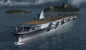 Картинки Корабли Авианосец Shokaku Армия 3D_Графика