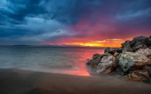 Картинки Америка Море Рассветы и закаты Побережье Сиэтл Скале Alki Beach Природа