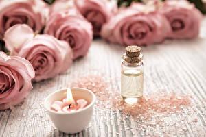 Картинки Розы Свечи Розовый Спа Соль Цветы