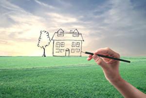 Обои Дома Поля Рисованные Руки Карандаши Природа