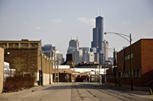 Картинка Штаты Небоскребы Дома Чикаго город Улица Уличные фонари Города