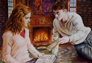 Картинки Гарри Поттер Emma Watson Daniel Radcliffe Рисованные Фильмы Знаменитости