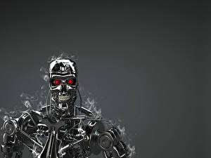 Фото Терминатор Робот Металл T-800 technology red eyes 3D Графика Фэнтези