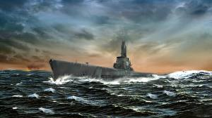 Обои Подводные лодки Рисованные Море USS Archer-Fish (SSAGSS-311)