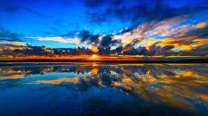 Фото Новая Зеландия Море Рассветы и закаты Небо Облака Kuku Beach Cook Strait Manakau Природа