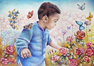 Фотография Рисованные Бабочки Розы Мальчишка ребёнок