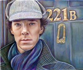 Обои Рисованные Камбербэтч Бенедикт Лица Взгляд Sherlock Фильмы Знаменитости