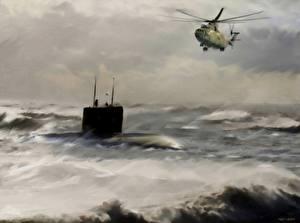 Обои Вертолеты Подводные лодки Рисованные Mi-26