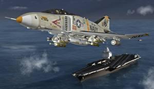 Картинка Самолеты Истребители Авианосец Взлет Phantom 3D_Графика