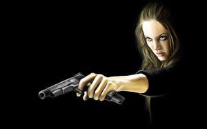 Фотографии Angelina Jolie Пистолеты Wanted Фильмы Знаменитости Девушки