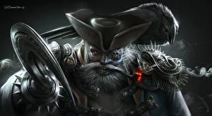 Картинки Пираты Мужчины Шляпа Борода Фэнтези