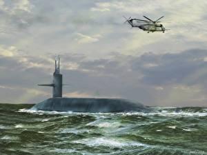 Фото Подводные лодки Вертолет Рисованные Trident sea trials 1987 Армия