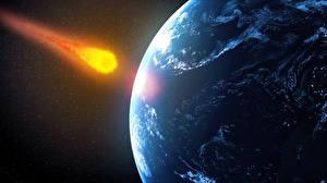 Картинки Планеты meteorite future impact Космос 3D_Графика
