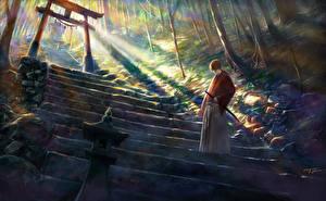 Обои Rurouni Kenshin Лестница Самурай shitub52 himura kenshin