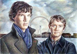 Фотография Мужчины Рисованные Камбербэтч Бенедикт Двое Sherlock Фильмы Знаменитости