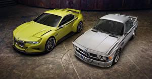 Картинка BMW Двое Желтый Серый 2015 CSL Hommage Автомобили