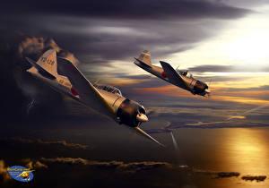 Фотография Самолеты Рисованные Вдвоем Японские A6M3 Mod. 32 Авиация