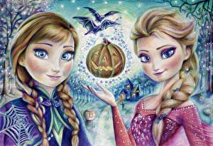 Картинка Хеллоуин Холодное сердце Картина Косички Два Fan ART Elsa Snow Queen Anna Девушки