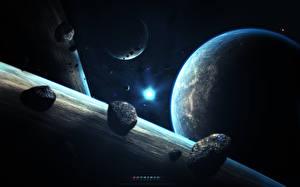 Фотография Звезды Планеты Астероид Поверхность планеты Земли abikk Космос 3D_Графика