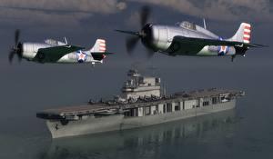 Фото Самолеты Авианосец Wildcats over Yorktown Авиация 3D_Графика