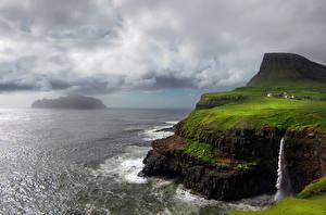 Картинка Остров Море Водопады Пейзаж Faroe Islands Природа