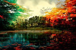 Обои Осень Живопись Озеро Пейзаж Colors of autumn Природа