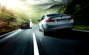 Картинка BMW Дороги Вид сзади Едет 2 2014 Alpina 4 Series автомобиль