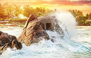 Фотографии Море Храмы Индия Пещера Скала Брызги Природа