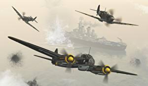 Обои Самолеты Корабли Трое 3 Channel Patrol Авиация 3D_Графика фото