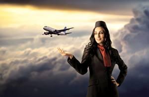 Фото Самолеты Стюардессы Облака Униформа Авиация Девушки