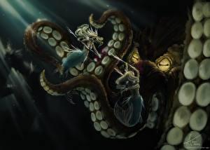 Картинка Битвы Русалка Подводный мир Монстры Два Фантастика